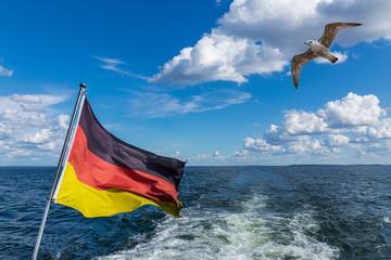 Deutsche Landesfahne mit Möwe und See