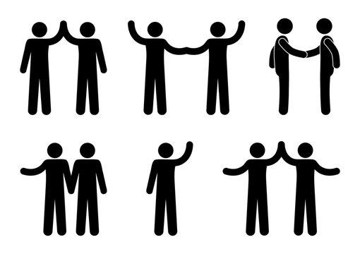 handshake icon, stick figure man, people hold hands, human silhouette, stickman pictogram