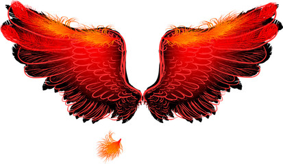 red flame large isolated wings on white