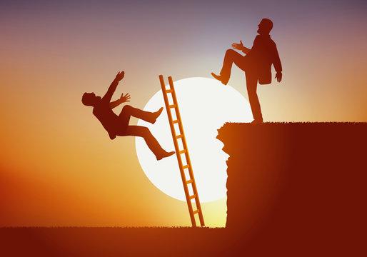 Concept de lutte féroce entre deux hommes en concurrence pour un poste en entreprise. Le vainqueur empêche son rival d'accéder au sommet en repoussant l'échelle et le précipitant dans le vide.