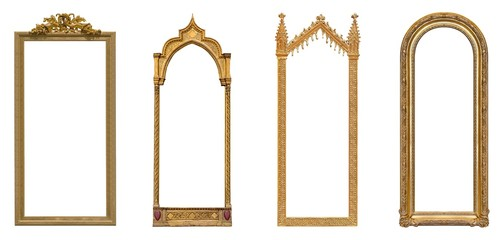 Set of panoramic golden frames for paintings, mirrors or photo isolated on white background