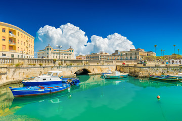 Scenic view of Ortygia (Ortigia), Syracuse, Italy. Cityscape of the famous historical place on Sicily Wall mural
