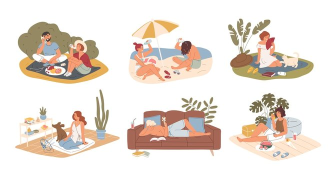 Hot summer outdoor and indoor recreation flat vector illustration set. Couple having picnic in park, sunbathing on sand beach. Man reading book at home. People refreshing from heat characters pack.