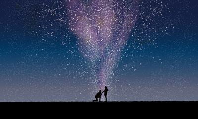 星空でプロポーズ  銀河の中のロマンチックなプロポーズイラスト Fototapete