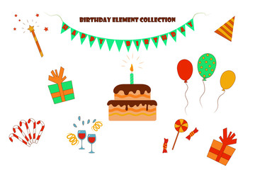 Isolated objects for a birthday. Flat vector. Illustration. The bourgeois, yellow, orange, red and brown colors of the elements.