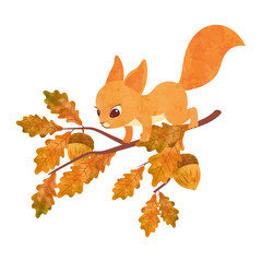 Cute squirrel on the oak tree. Vector watercolor illustration.