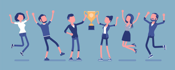 Winner team with business trophy. Happy employees winning on training and coaching competition, corporate championship victory. Vector illustration with faceless characters
