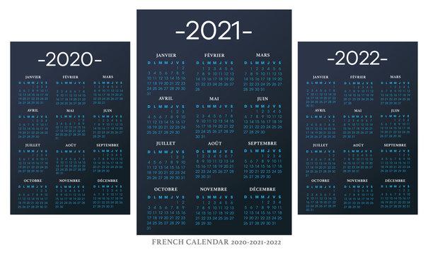 French calendar 2010-2021-2022 vector template