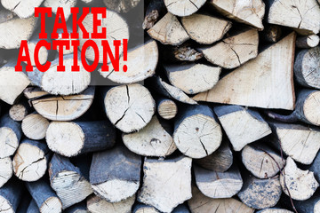 Text sign showing Take Action. Business photo showcasing do something official or concerted to achieve aim with problem Background dry chopped firewood logs stacked up in a pile winter chimney