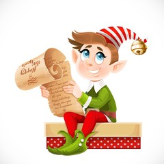 Cute cartoon elf Santa's assistant sitting on box with gift and holding parchment in hands isolated on a white background