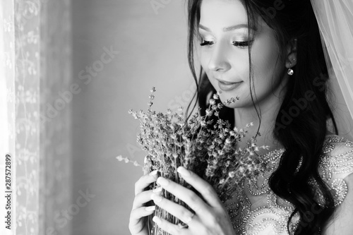 Beautiful Bride In Wedding Day With Lavender Young Woman In