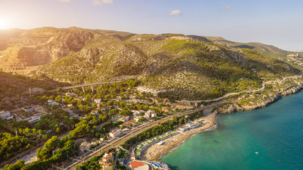 Aerial landscape Garraf province of Barcelona, Catalonia, northern Spain. Beautiful view to the city from the sea. Aerial photo