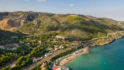 Foto auf Acrylglas Barcelona Spain small city Garraf province of Barcelona, Catalonia. Beautiful view to the city from the sea. Aerial photo