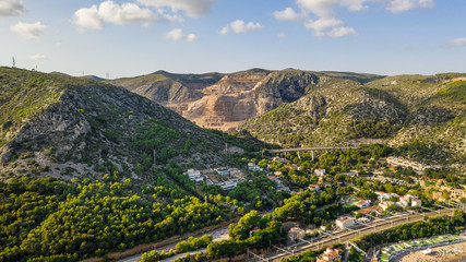 Spain city Garraf province of Barcelona, Catalonia, northern Spain. Beautiful view to the city from the sea. Aerial photo