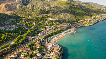 Foto auf Acrylglas Barcelona Garraf province of Barcelona, Catalonia, northern Spain. Beautiful view to the city from the sea. Aerial photo