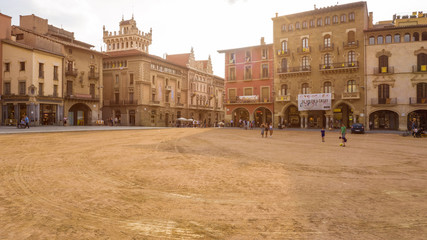 Vic Catalonia Spain Placa Major Main Square . Golden light. Summer time