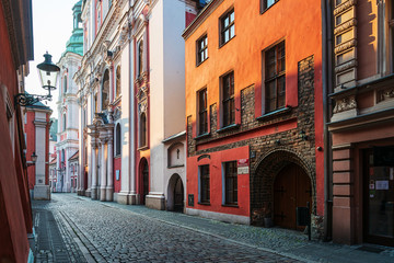 POZNAN, POLAND - September 2, 2019: Antique building view in Old Town Poznan, Poland