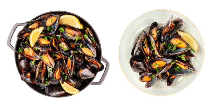 Moules mariniere set. Boiled mussels in a pan and on a plate, isolated on a white background