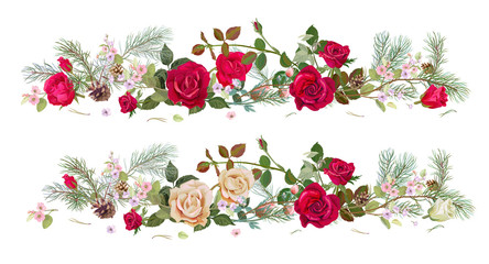 Panoramic view with white, red roses, spring blossom, pine branches, cones. Horizontal border for Christmas: flowers, buds, leaves on white background, digital draw, watercolor style, vector