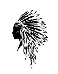 native american indian woman wearing traditional tribal feathered headdress - black and white vector profile head portrait
