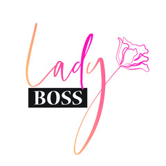 Lady logo, art flower, vector illustration