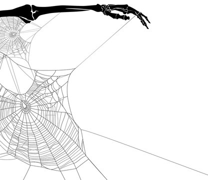 human skeleton hand holding spider web net - halloween theme black and white copy space vector background