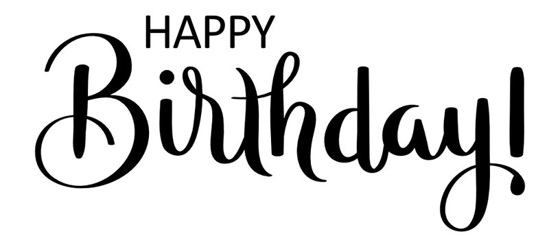 HAPPY BIRTHDAY! black vector brush calligraphy banner