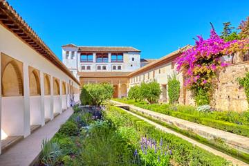 Famous garden in the Alhambra at Granada in Spain.