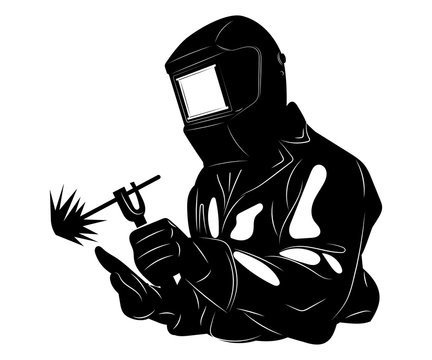 Welder welds metal. Black and white illustration of a welder in work clothes. Linear art. Silhouette of a welder. Vector logo.