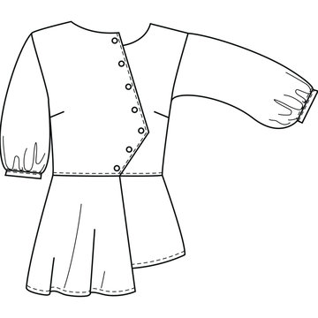 technical sketch office blouses with 3/4 sleeve front view
