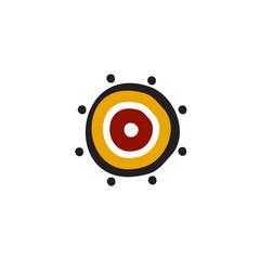 Aboriginal art dots painting icon logo design illustration template