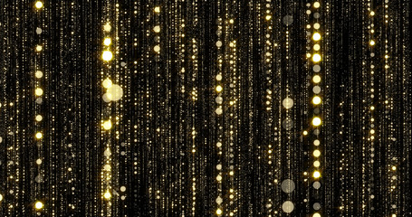Golden glitter and gold particles rain, flowing light threads curtain with bokeh sparks. Gold glitter particles rain falling flow background with magic glowing shimmer glare
