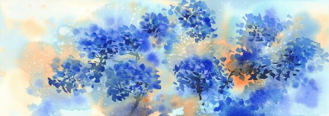 Fototapeta a bouquet of blue flowers, hydrangeas watercolor illustration. Autumn flowers obraz