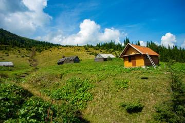 Fotobehang Rijstvelden village in the mountains