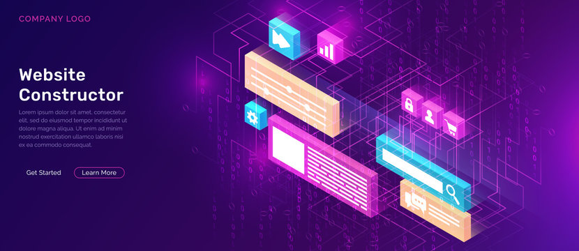 Website constructor isometric concept vector illustration. Software landing page template for creating customize website design, interface with 3D icons on ultraviolet background