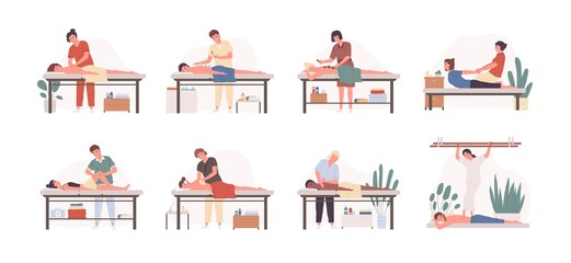 Massage therapists at work flat vector illustrations set. Patients lying on couch, enjoying body relaxing treatment. Physiotherapists practicing different massage types isolated cartoon characters.