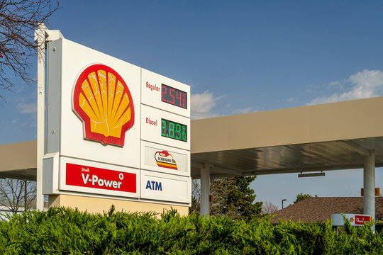 Shell gas station with price display