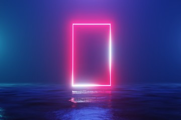 Glowing neon red rectangle, portal, gate. Fantastic scene. 3d rendering