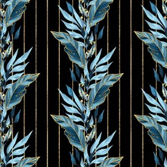 Seamless pattern with blue leaves. Background for wrapping paper