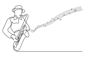 Continuous line Man blowing the trumpet instrument jazz Simple style hand drawn music style  illustration