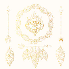 Hand drawn boho golden dream catcher, arrows, feather wreath and quills, hamsa symbol. Gold magic scandinavian border in indian style. Wedding gypsy frame.