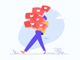 Young man carrying heavy speech bubbles with heart symbols of social media. Flat modern concept vector illustration of online networking. Casual design on white background
