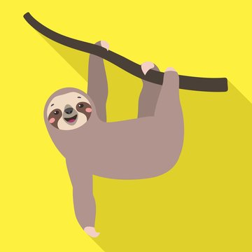 Sloth on tree icon. Flat illustration of sloth on tree vector icon for web design