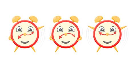 A group of three cartoon alarm clocks do morning exercises. Vector illustration on a white background.