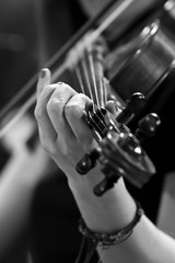 The hand of a girl playing the violin in black and white tones