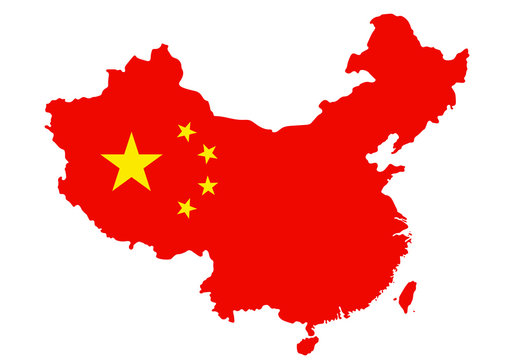 Outlined People's Republic of China map country silhouette in national flag stile vector drawing template for your design.