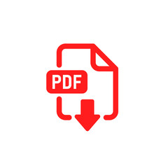 PDF document file format. Download and save icon. Web doc pictogram. Red vector illuatration on white background.