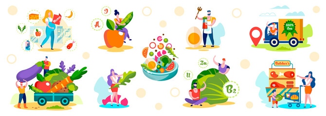 Male and Female Characters Choose Healthy Eco Food