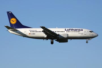 OBERGLATT, SWITZERLAND - June 26, 2011: German Lufthansa Boeing 737-300 with registration D-ABEU on short final for runway 14 of Zurich Airport.