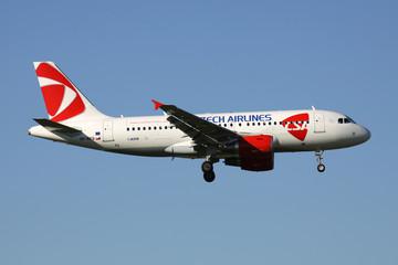 OBERGLATT, SWITZERLAND - June 26, 2011: CSA Czech Airlines Airbus A319-100 with registration OK-REQ on short final for runway 14 of Zurich Airport.